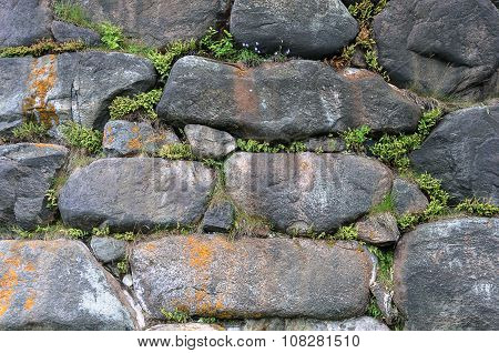 Wall Background Of Large Boulders