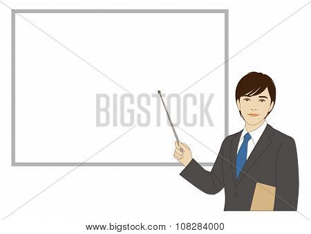 Smiling Businessman Holding A Pointer Stick