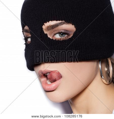 Close-up Of Face Of Sexy Woman In Balaclava - Crime And Violence