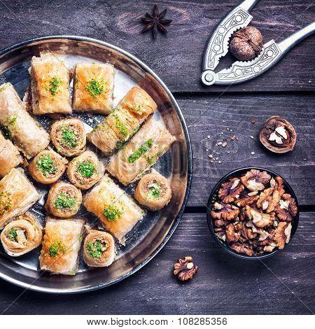Turkish Delights Baklava On Wooden Table