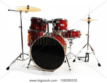 Set of red drums isolated on white background