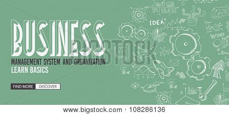 Business Management Concept with Doodle design style :finding solution, brainstorming, creative thinking. Modern style illustration for web banners, brochure and flyers.