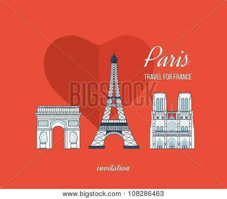 French Landmarks. Eiffel tower, Notre Dame in Paris, France