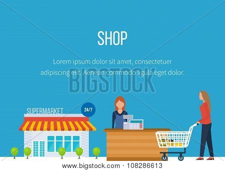 Supermarket store concept with food assortment. Shop grocery