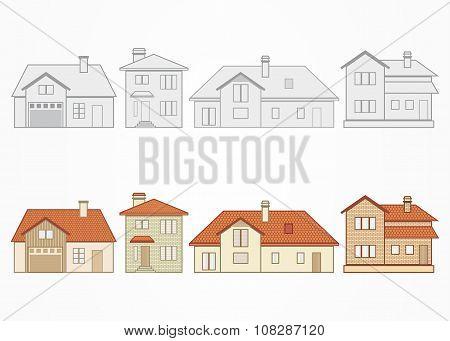 Set of suburban homes. Vector illustration.