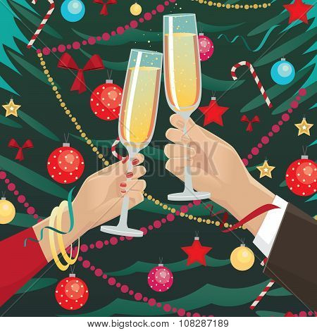 Couple Clink Glasses Near Christmas Tree Indoors