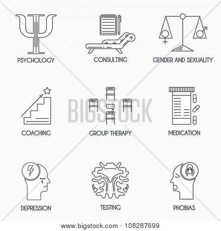 Psychology and psychotherapy icons
