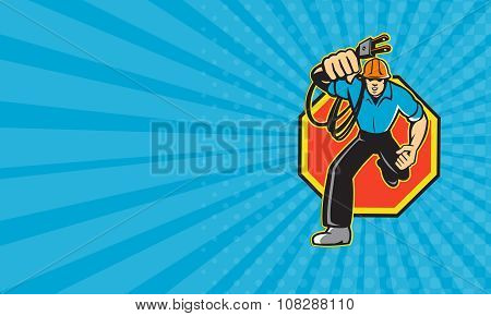 Business Card Electrician Worker Running Electrical Plug