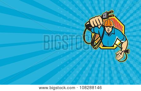 Business Card Electrician Construction Worker Retro