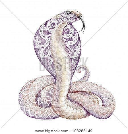 Tattoo Snake Cobra With Open Cowled