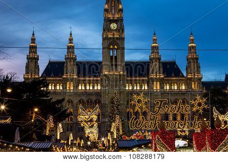 Christmas Market At Rathaus (vienna City Hall) Closeup