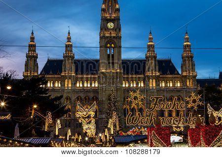 Christmas Market At Rathaus (vienna City Hall) Closeup