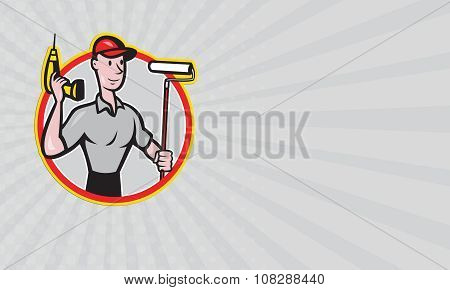 Business Card House Painter Paint Roller Handyman Cartoon