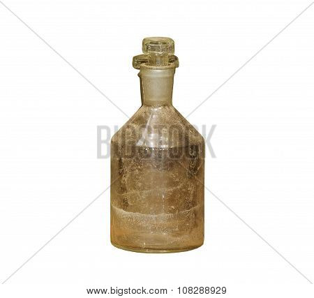 Old Chemical Bottle On White Background