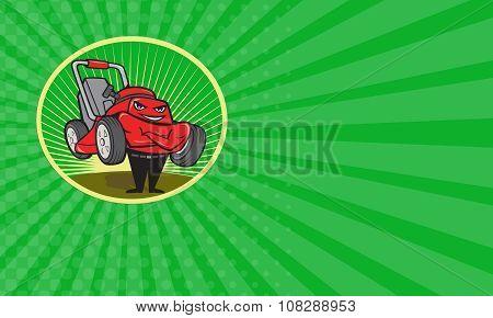 Business Card Lawn Mower Man Cartoon Oval