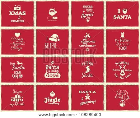 Christmas funny signs, quotes backgrounds designs for kids - loading bar, love santa, xmas is coming