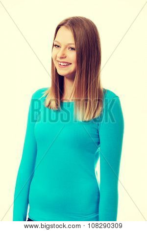 Happy teen woman with toothy smile