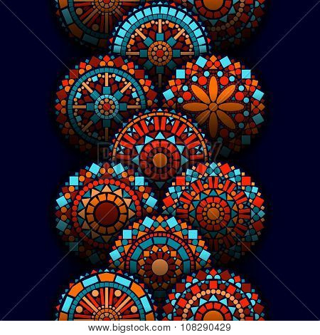 Colorful circle flower mandalas geometric seamless border in blue red and orange, vector