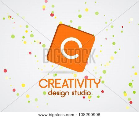 Vector abstract logo design. Creativity studio. Creative logo icon. Abstract logotype template. Roun