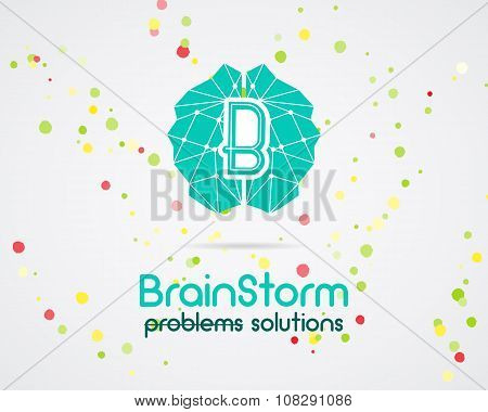 Brainstorm, brain, creation and idea logo template and elements. Solve problems business company log
