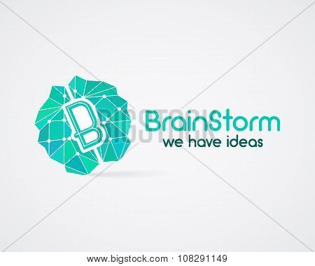 Brainstorm, brain, creation and idea logo template and elements. Solve problems, idea creation busin