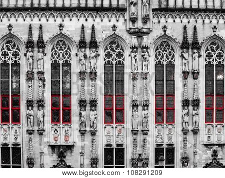 Architectural detail of City Hall in Bruges