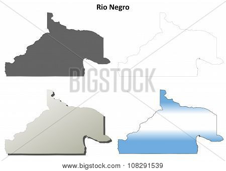 Rio Negro blank outline map set