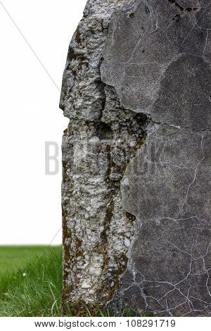 Isolated Concrete Corner Of Old And Destroyed Bunker In Front Of White Background