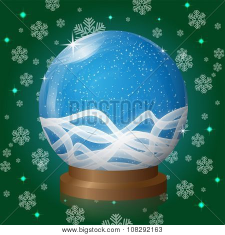 Empty Snow Globe With Blizzard Retro Design