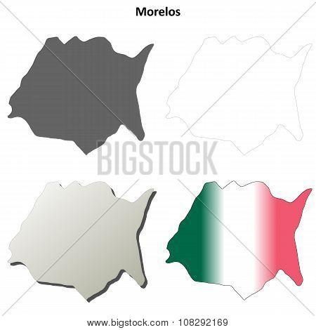 Morelos blank outline map set