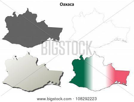 Oaxaca blank outline map set