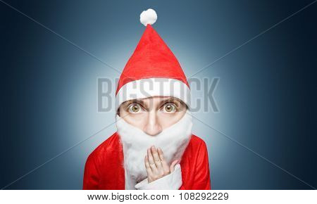 Caricature Of Surprised Santa Claus Comic Figure With Hand Over Mouth