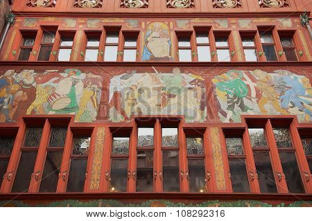 Exterior of the facade of the city hall building in Basel, Switzerland.