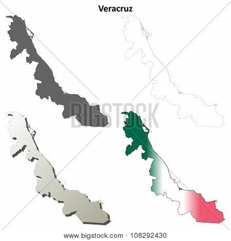 Veracruz blank outline map set