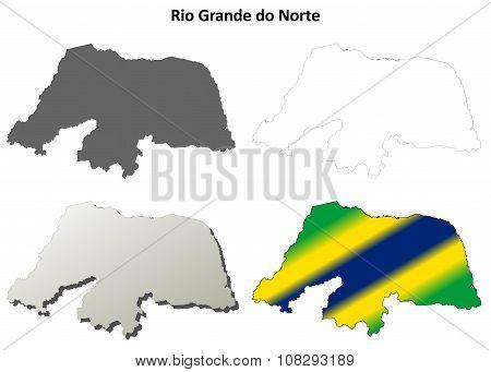 Rio Grande do Norte blank outline map set