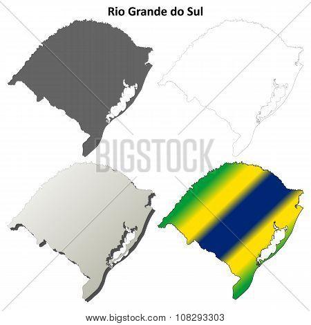 Rio Grande do Sul blank outline map set