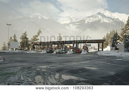 Paying gates at the entrance of Frejus Tunnel in the Alps