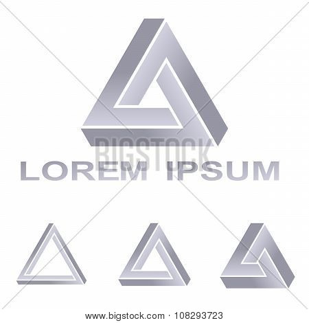 Silver Penrose triangle technology symbol design set