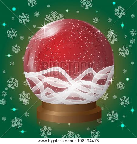 Red Empty Snow Globe With Blizzard Retro Design