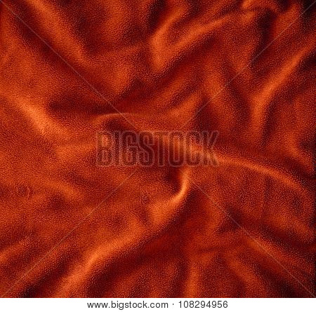 Close Up  On Crumpled Red Brown Fur Fabric Texture