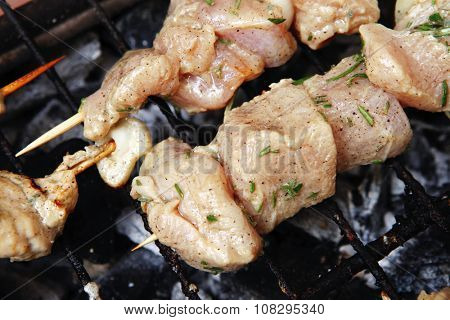 healthy shish kebab - grilled bbq chicken turkish meat on skewers over charcoal brazier outdoor