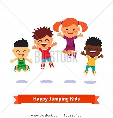 Happy and excited jumping kids