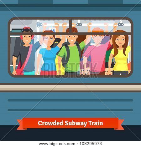 Crowded subway train