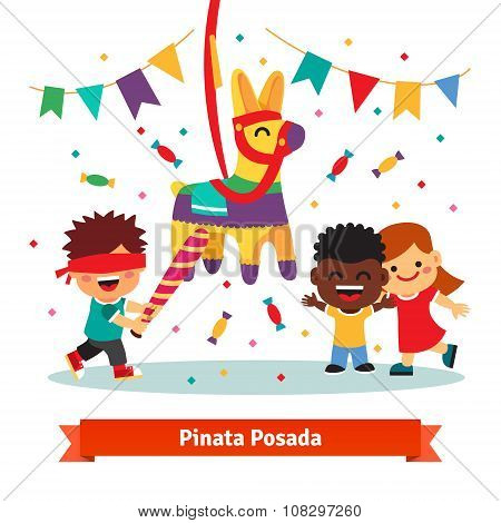 Children celebrating Posada by breaking Pinata