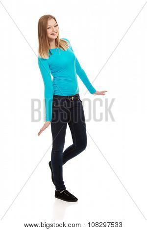 Cheerful teen woman with toothy smile