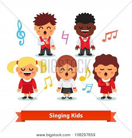 Choir of kids singing. Boys and girls