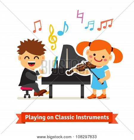 Boy and girl playing music on piano, violin