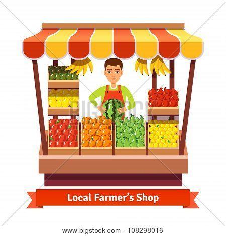 Local farmer produce shop keeper