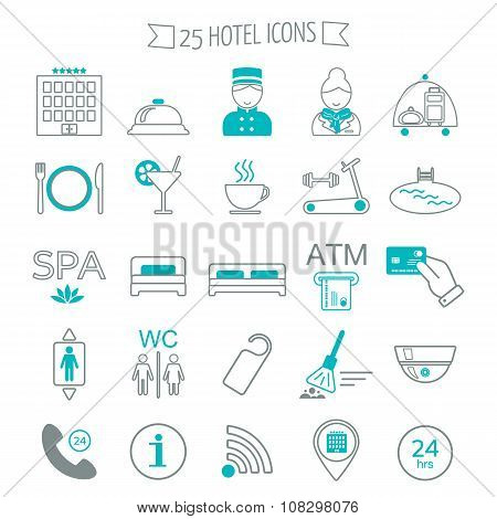 Hotel Services Icons. Modern Line Icons. Flat Design. Vector