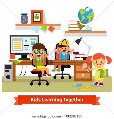 Children learning and doing projects together